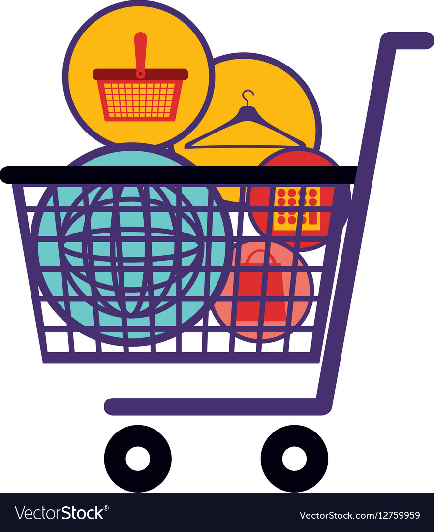 silhouette color with full shopping cart vector image rh vectorstock com shopping cart vector shopping cart vector