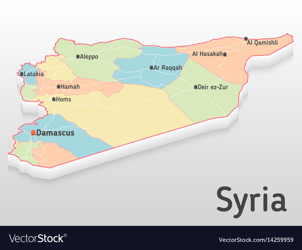 Syria Map D With Main Cities And Royalty Free Vector Image - Qamishli map