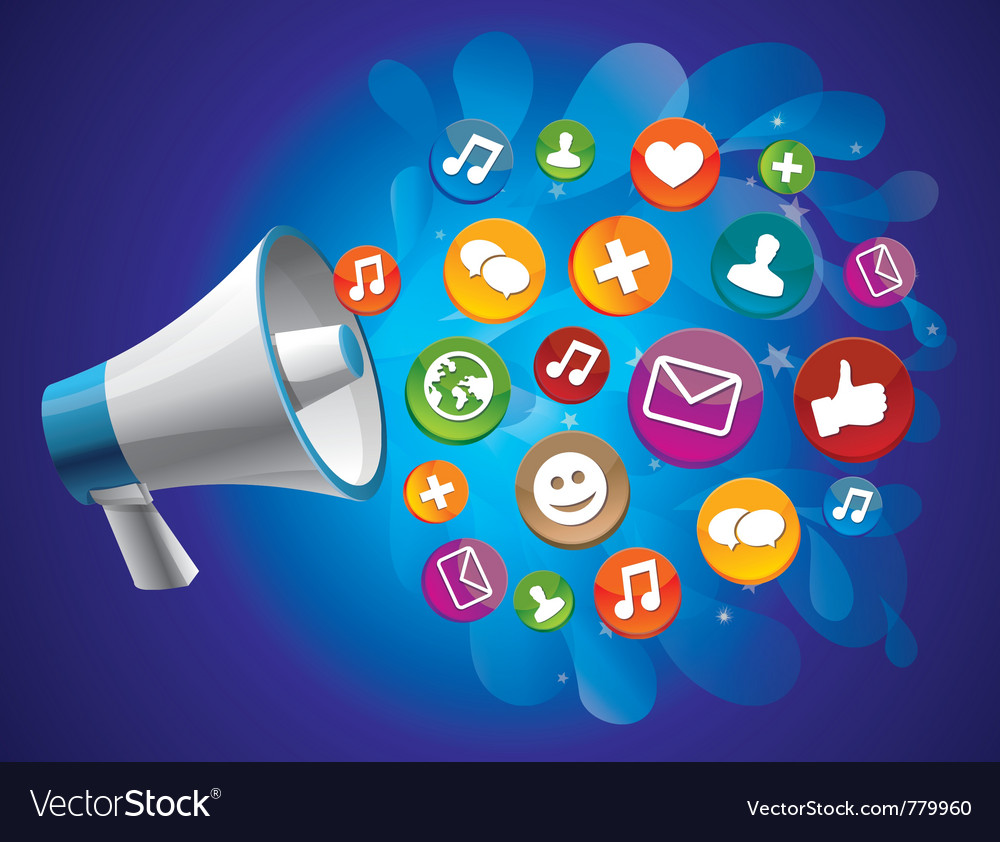 Icon megaphone with icon Vector Image