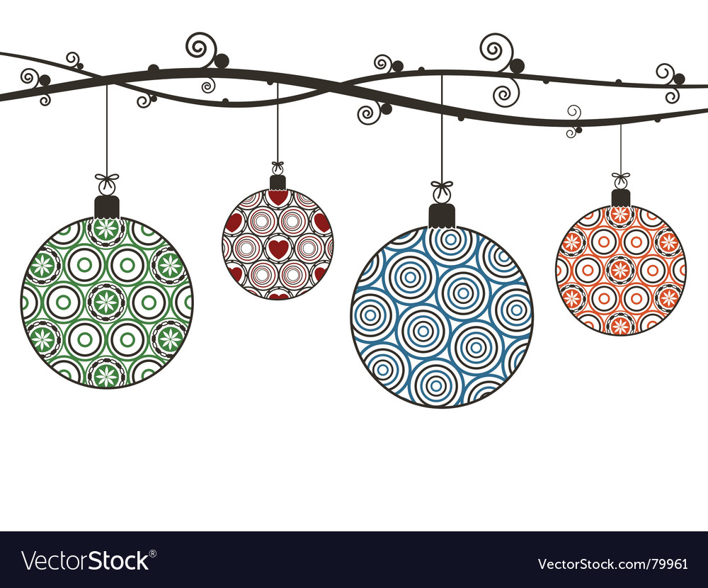 Christmas hanging decorations vector image