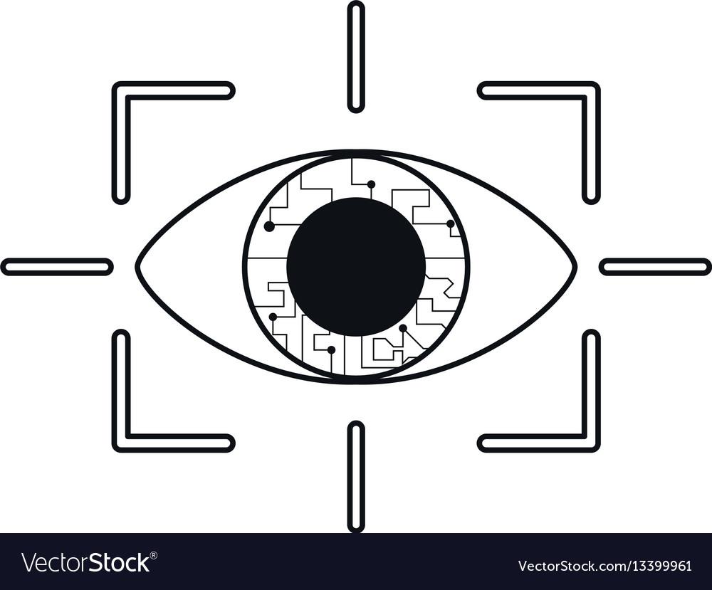 Eye virtual reality concept thin line vector image