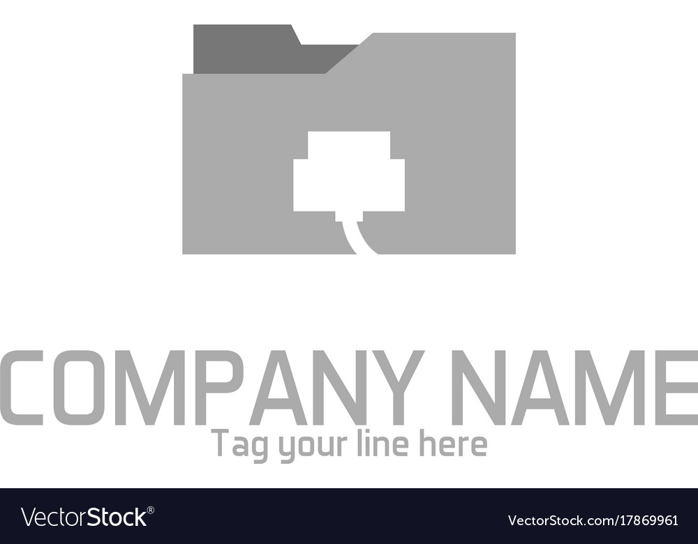 Wire cable folder logo Royalty Free Vector Image