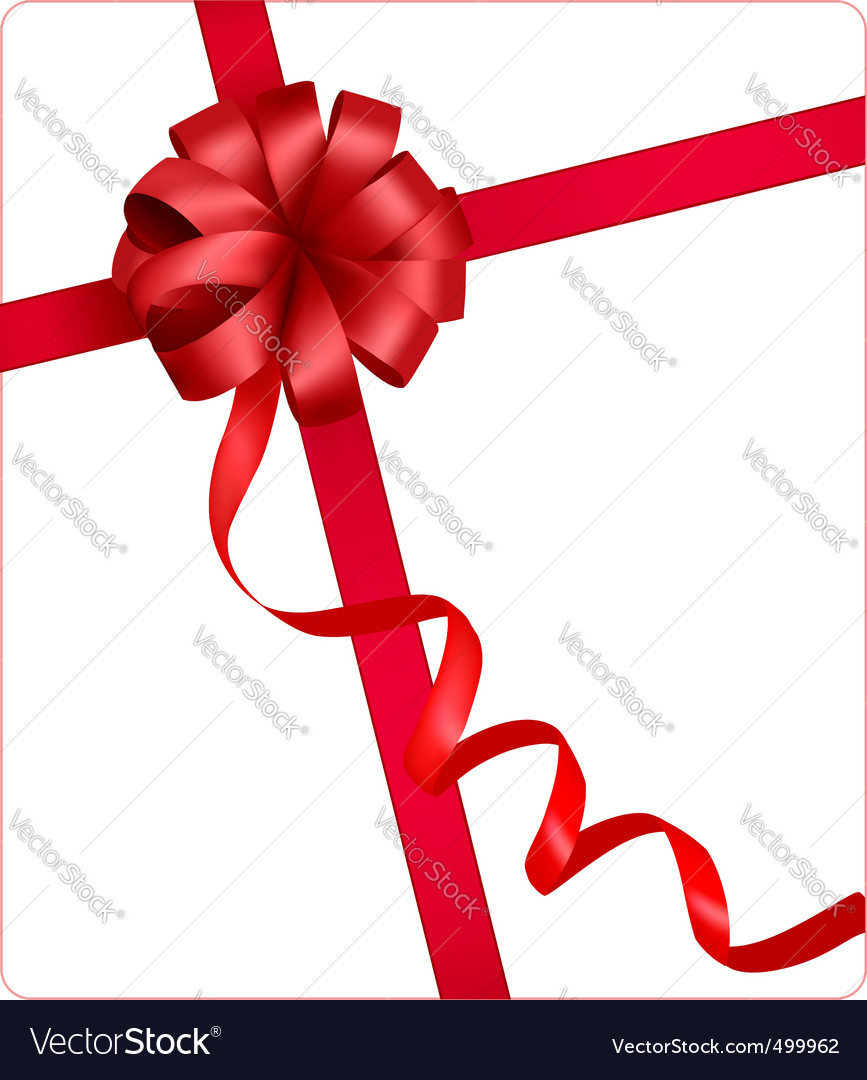 Red beauty bow with ribbon vector image