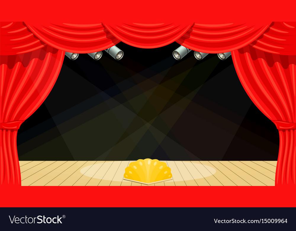 Cartoon theater theater curtain beams of vector image