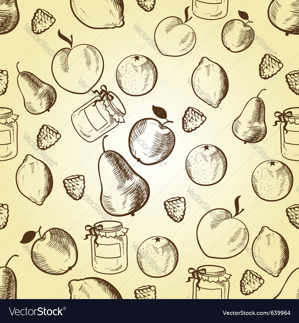 Fruits in retro style vector image