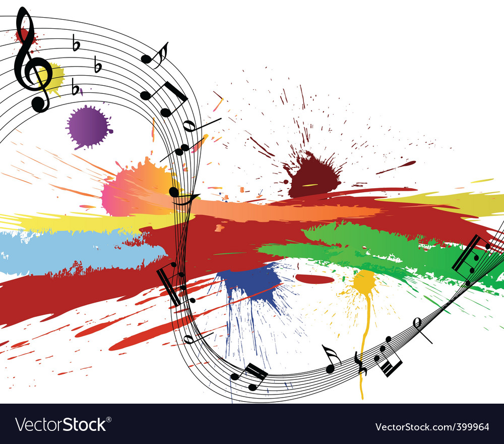 Grunge music notes vector image