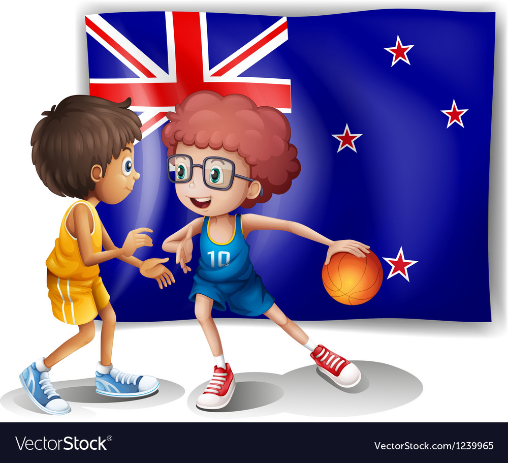 The flag of New Zealand in front of the basketball Vector Image