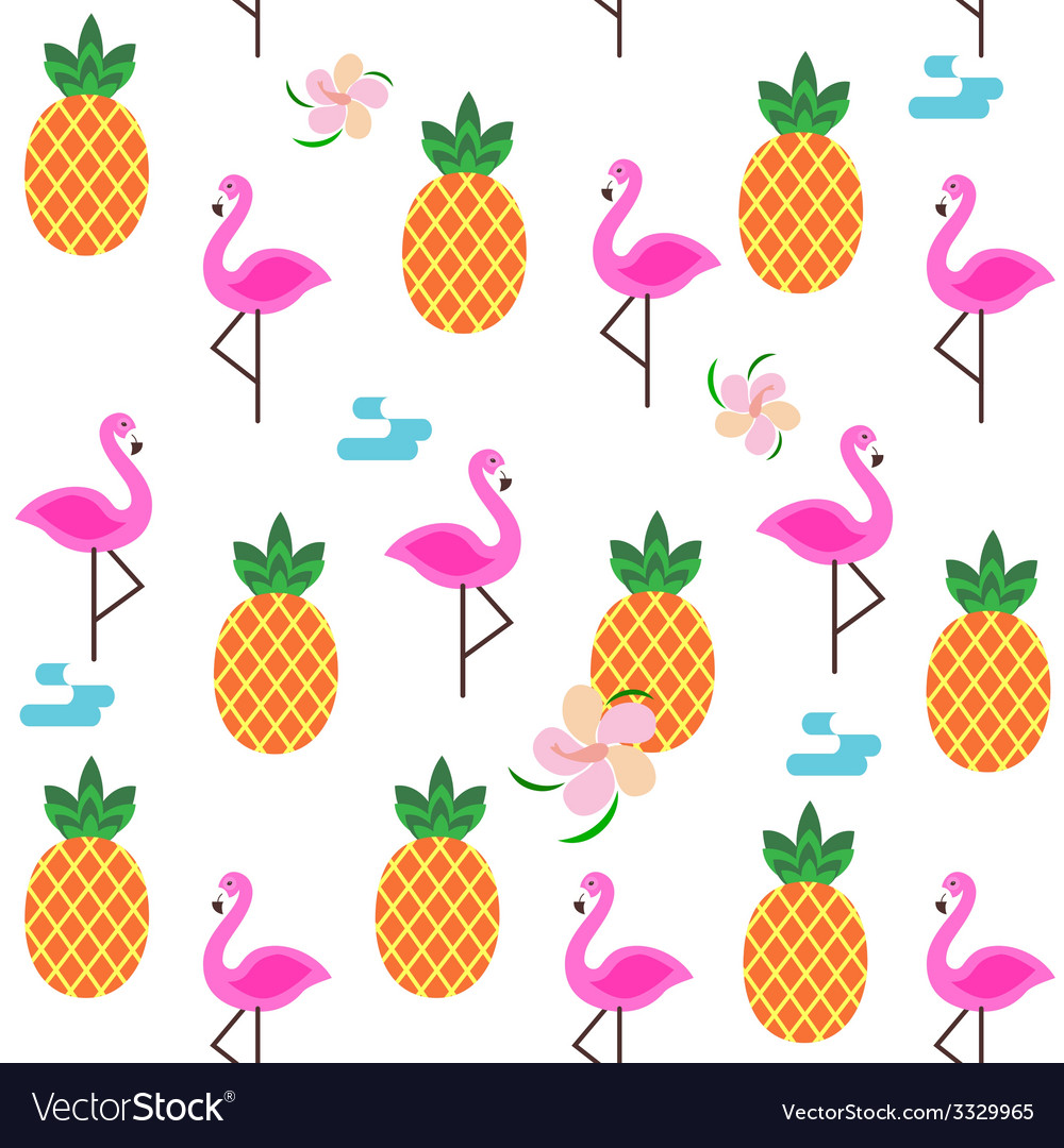 Summer seamless print with flamingo and pineapple Royalty