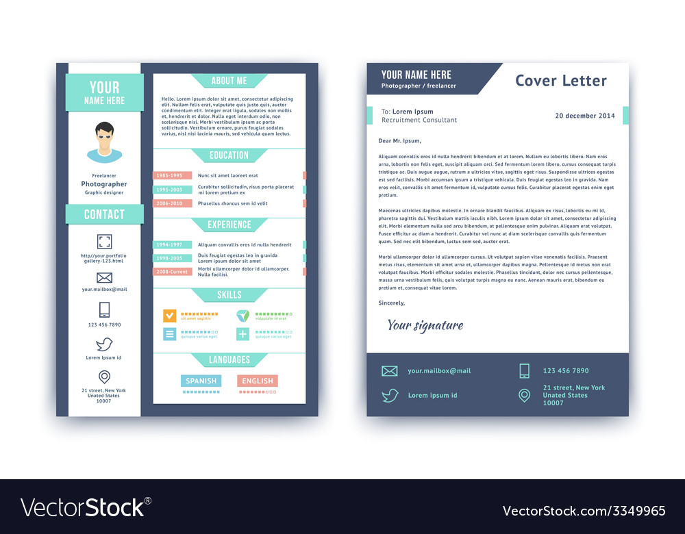 Resume And Cover Letter Template Royalty Free Vector Image