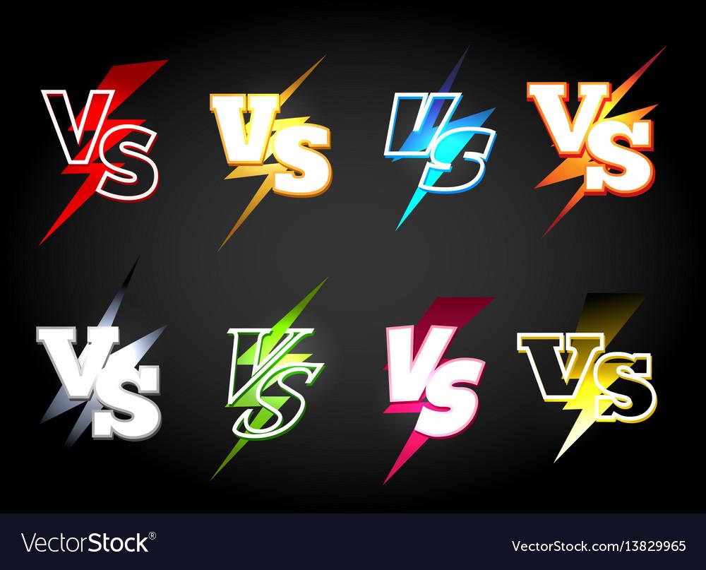 Versus or vs confrontation labels vector image