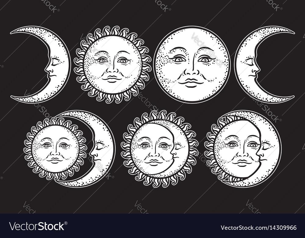 Boho chic flash tattoo set sun and moon vector image