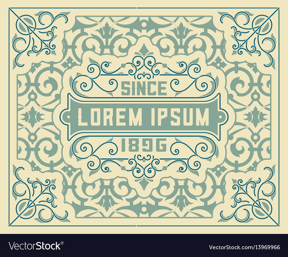 Old card baroque style wirh floral details vector image