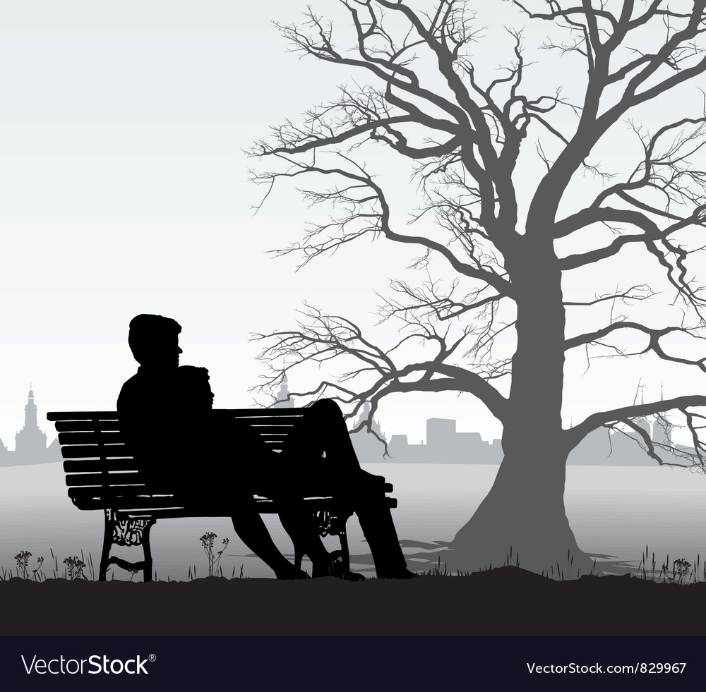The young man and girl on bench Vector Image