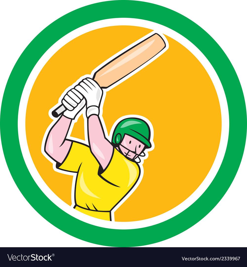 Cricket Player Batsman Batting Circle Cartoon vector image