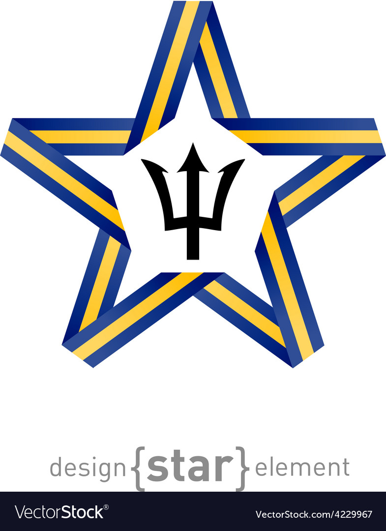 Star with flag of Barbados colors and symbols vector image