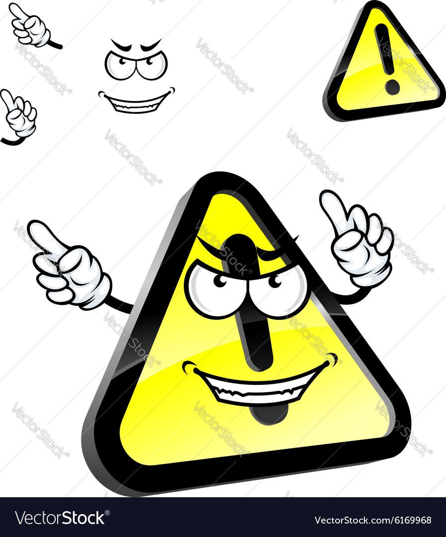 Cartoon hazard warning attention sign vector image