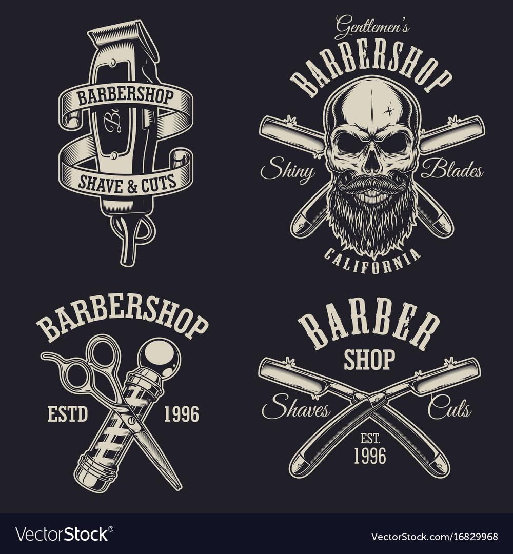 Set of vintage barbershop emblems vector image