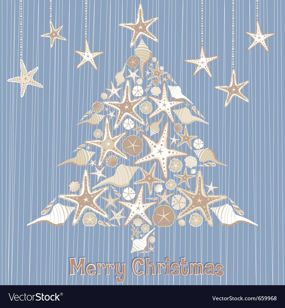 Tropical seashell christmas tree card vector image