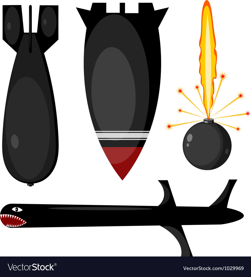 Bombs missiles set vector image