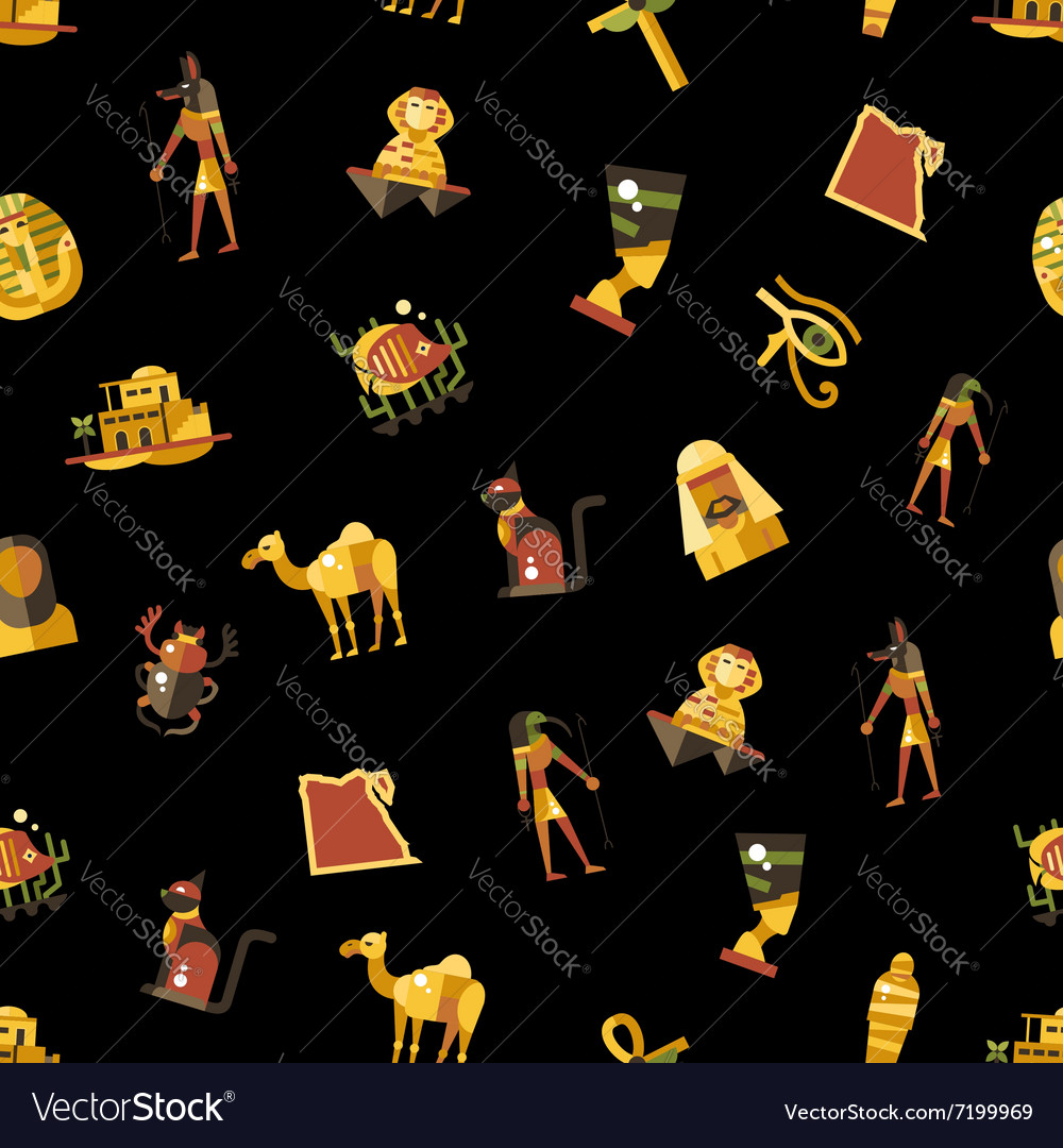 Flat design Egypt travel pattern with famous vector image