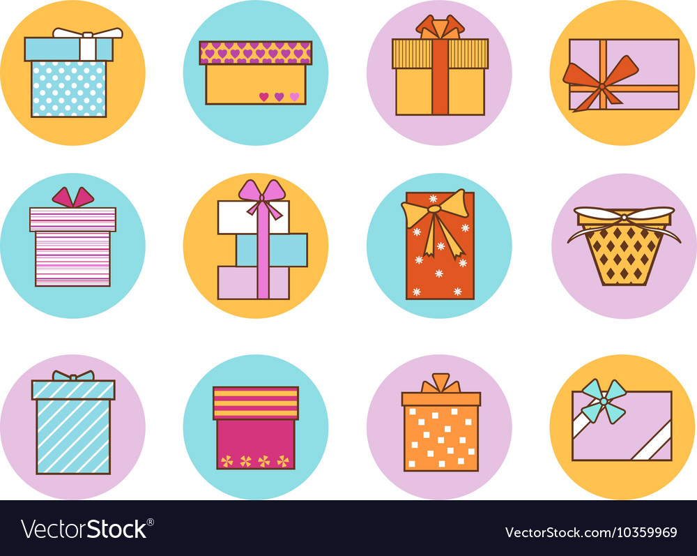 Gift Boxes Outline Color Set vector image