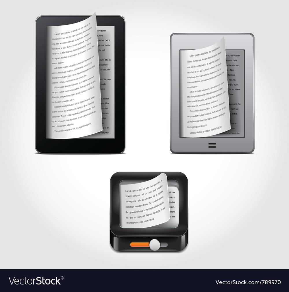 E-reader icons Vector Image