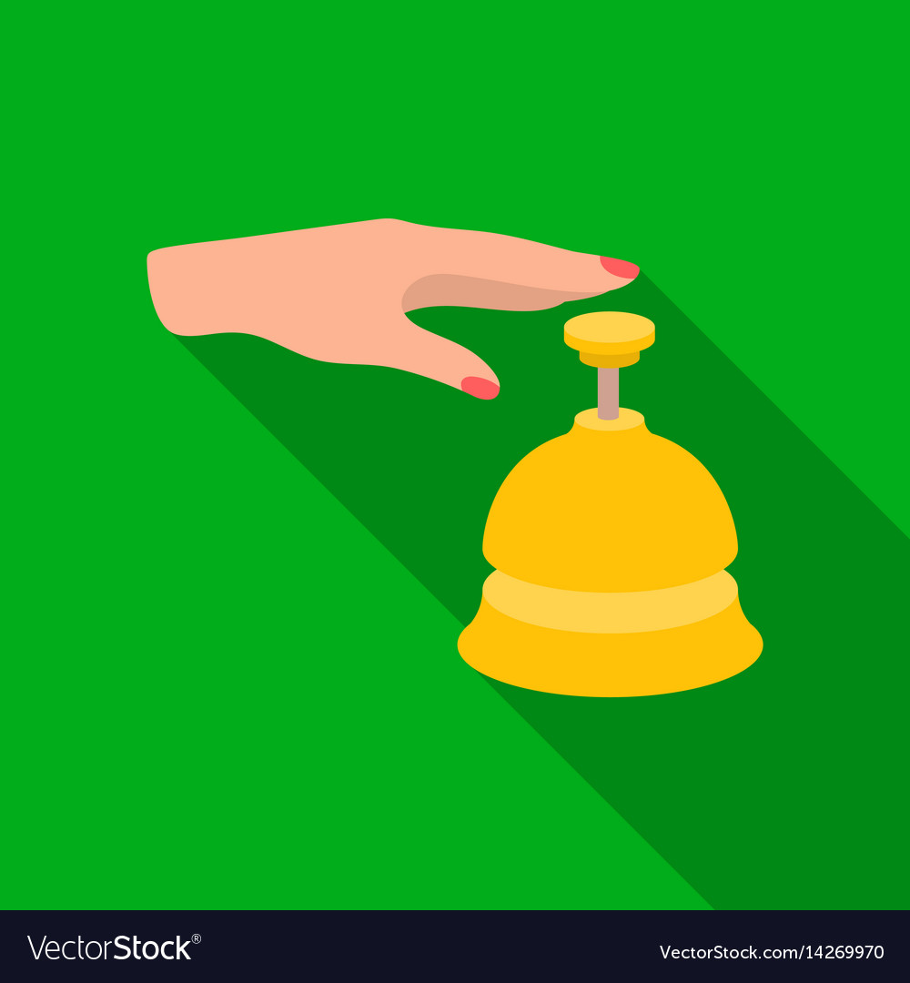 Reception bell icon in flat style isolated on vector image