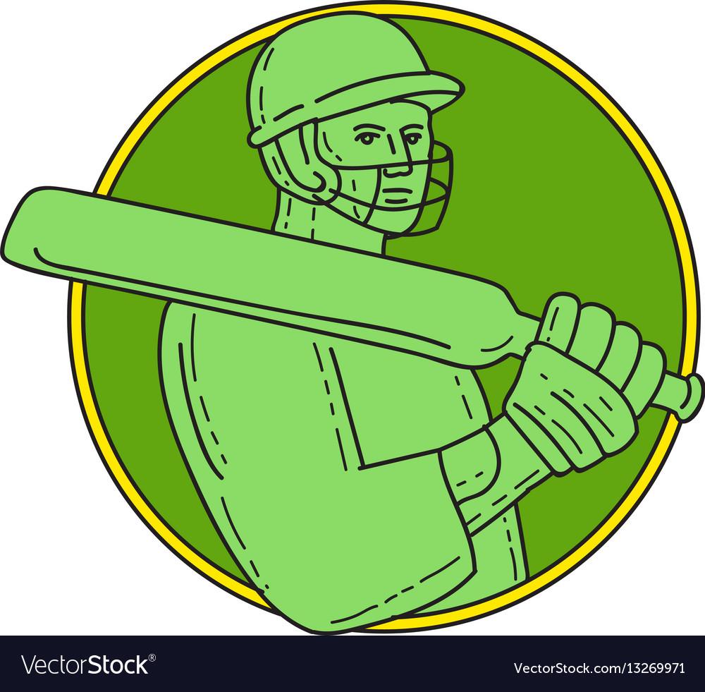 Cricket player batsman circle mono line vector image