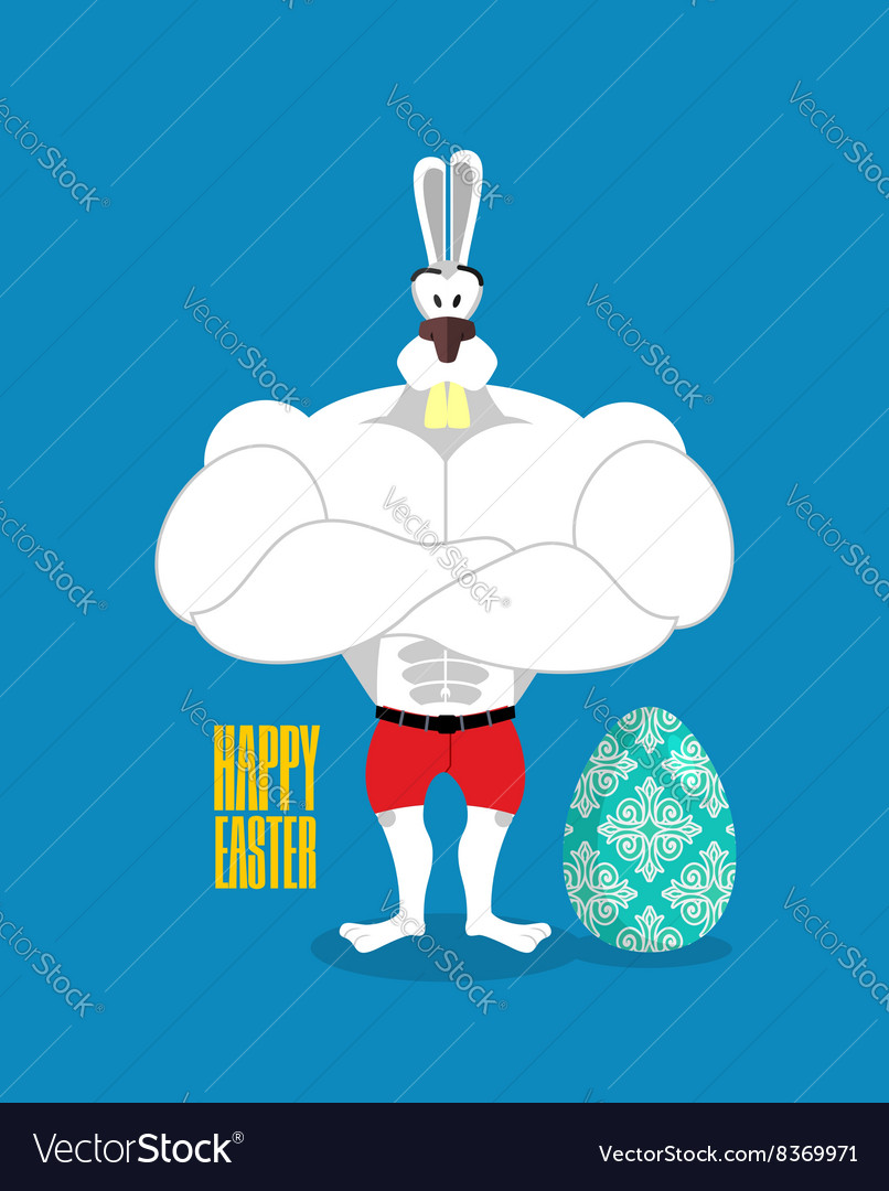Happy Easter Powerful rabbit guards Easter egg vector image