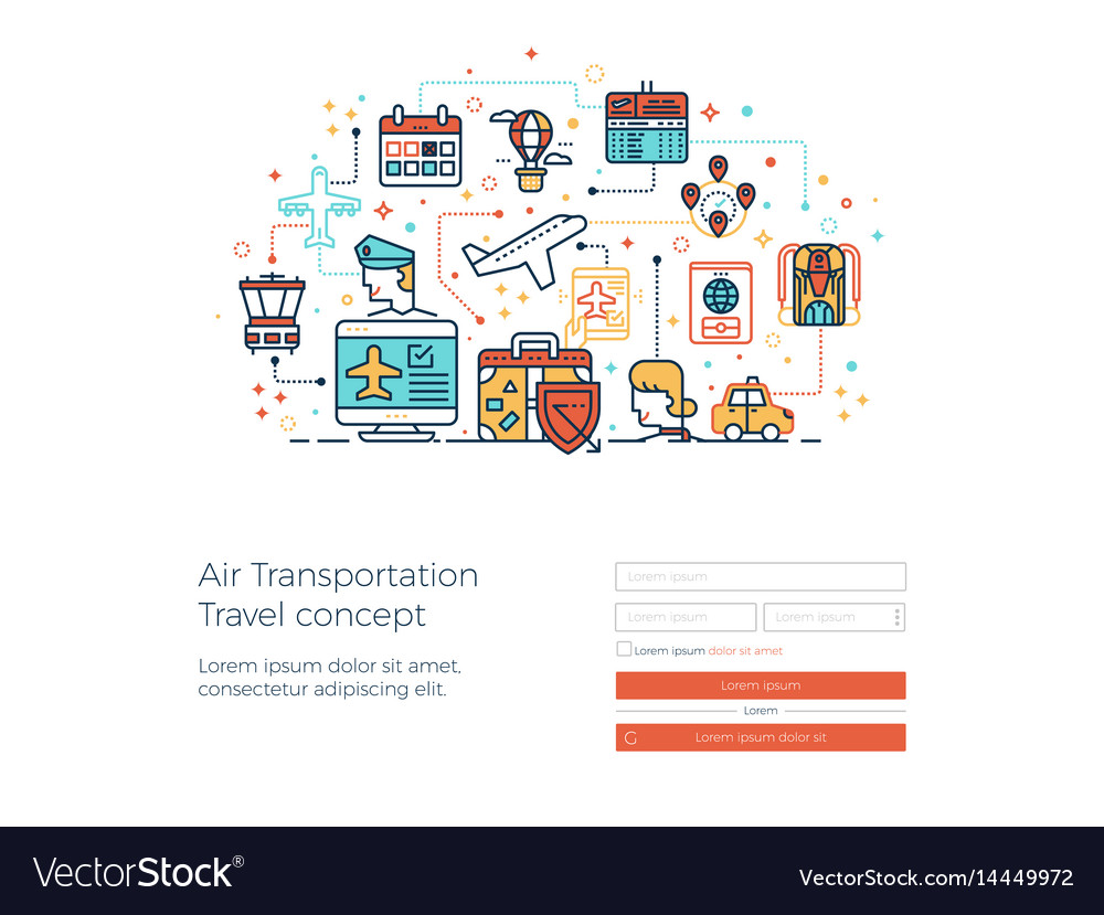 Air transportation travel concept vector image