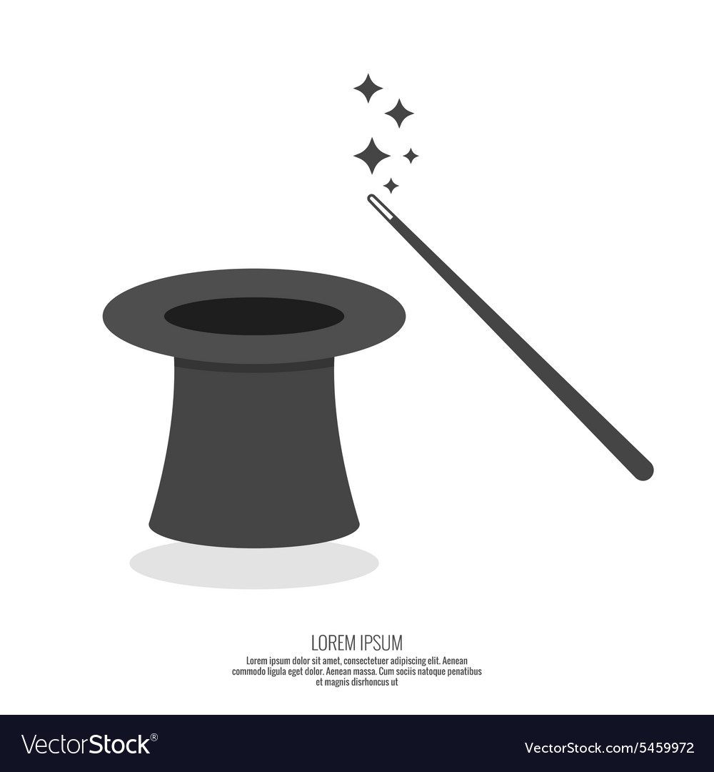 Magic hat and magic wand with sparkles vector image