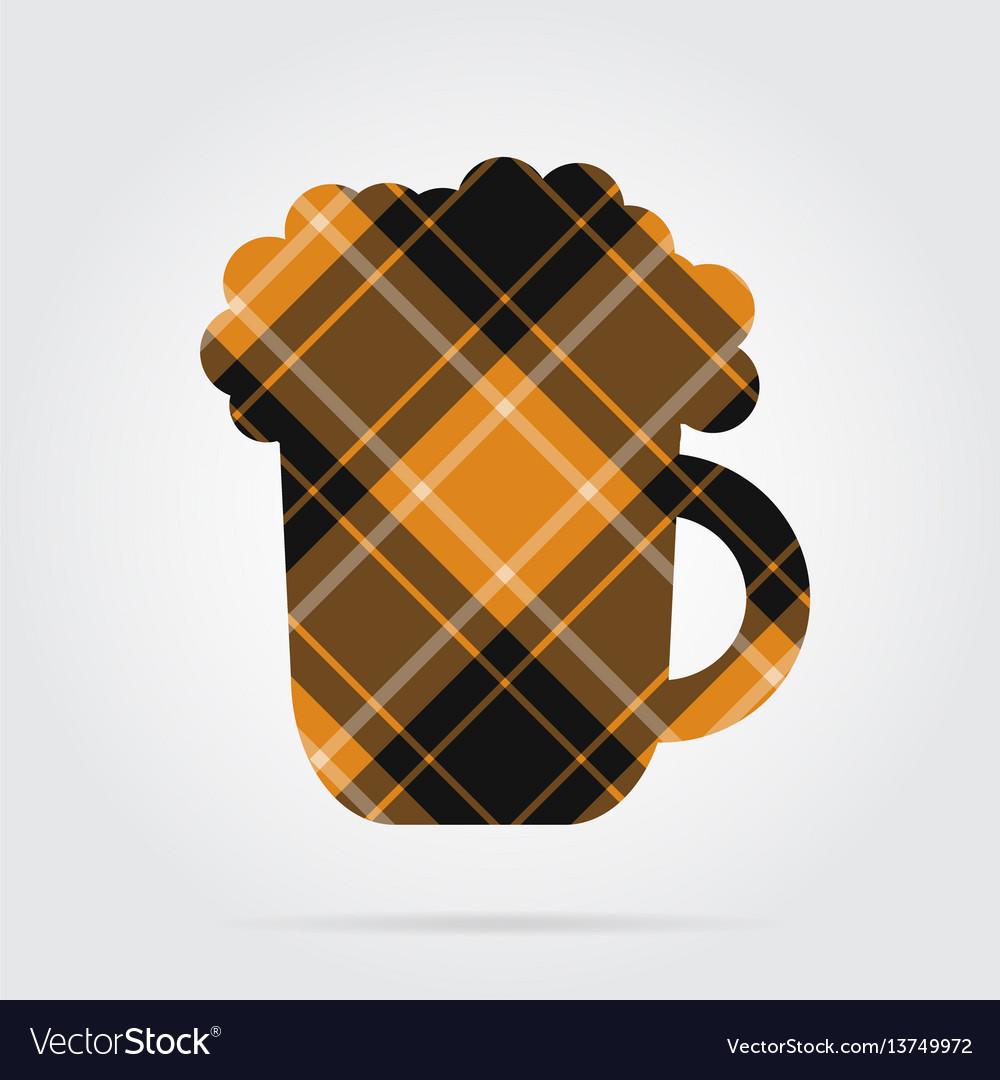 Orange black tartan isolated icon beer with foam vector image