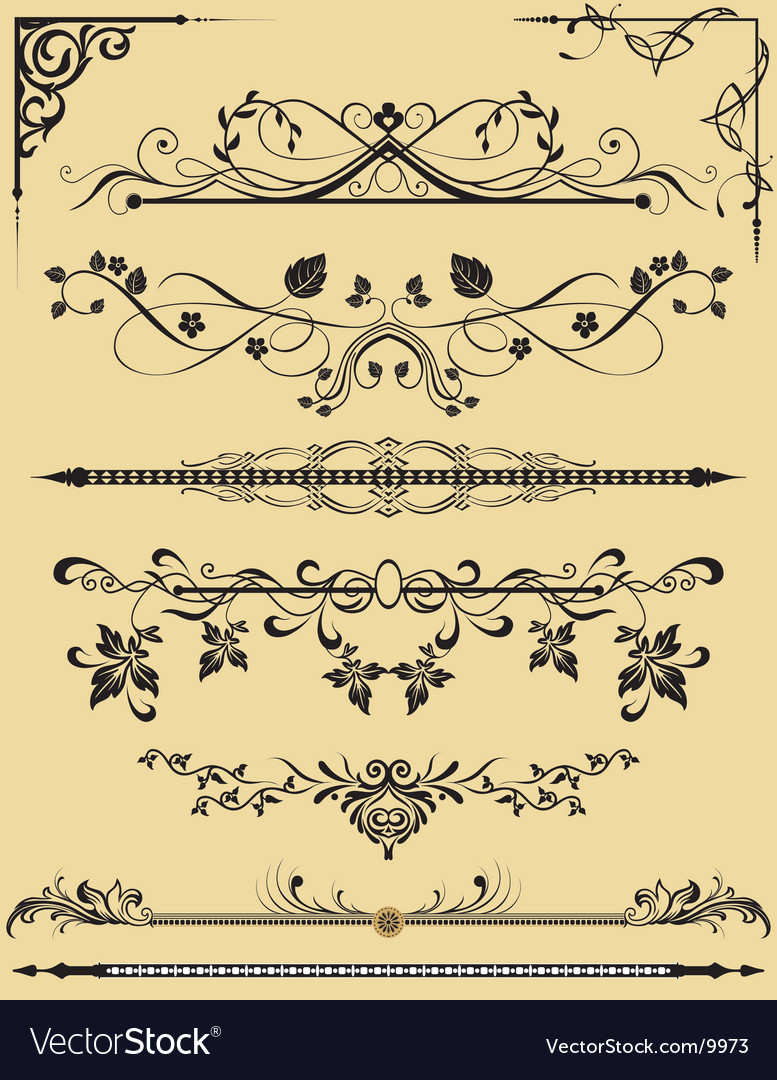 Retro floral frame elements vector image