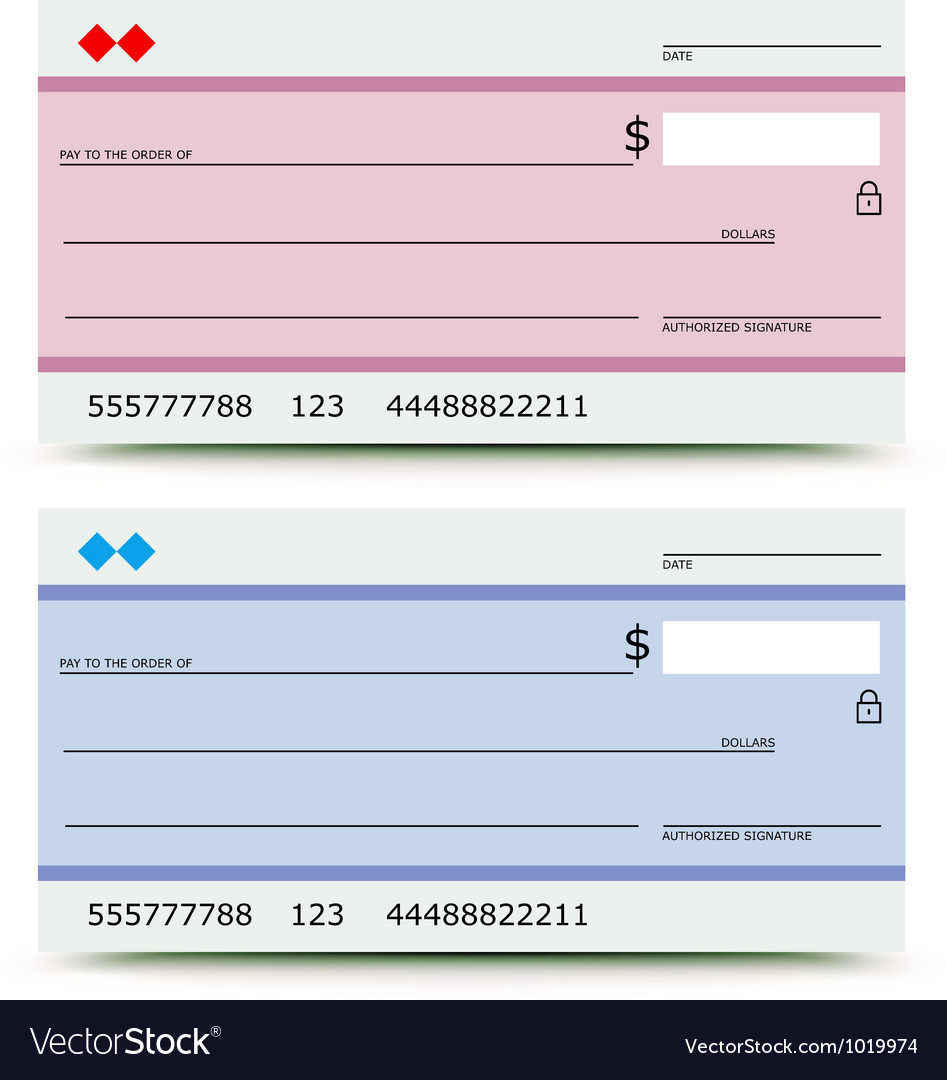 Bank check Vector Image
