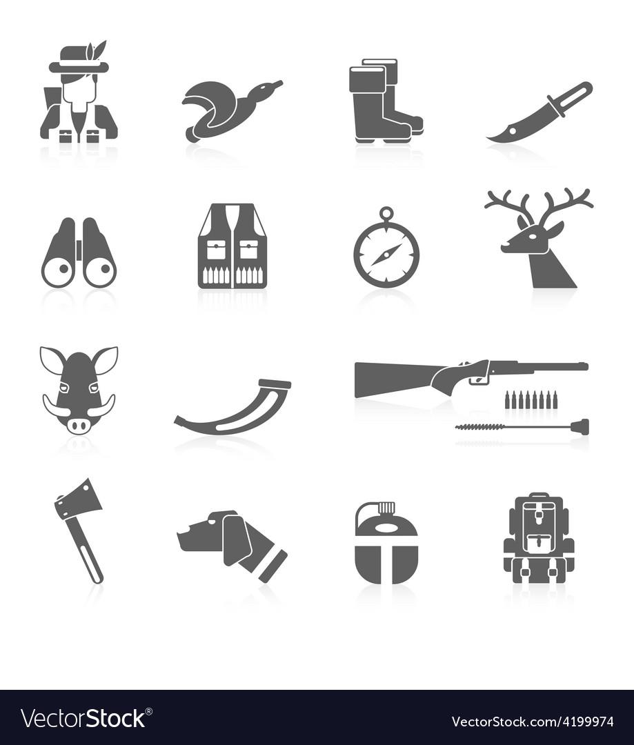 Hunting Icon Black Set vector image
