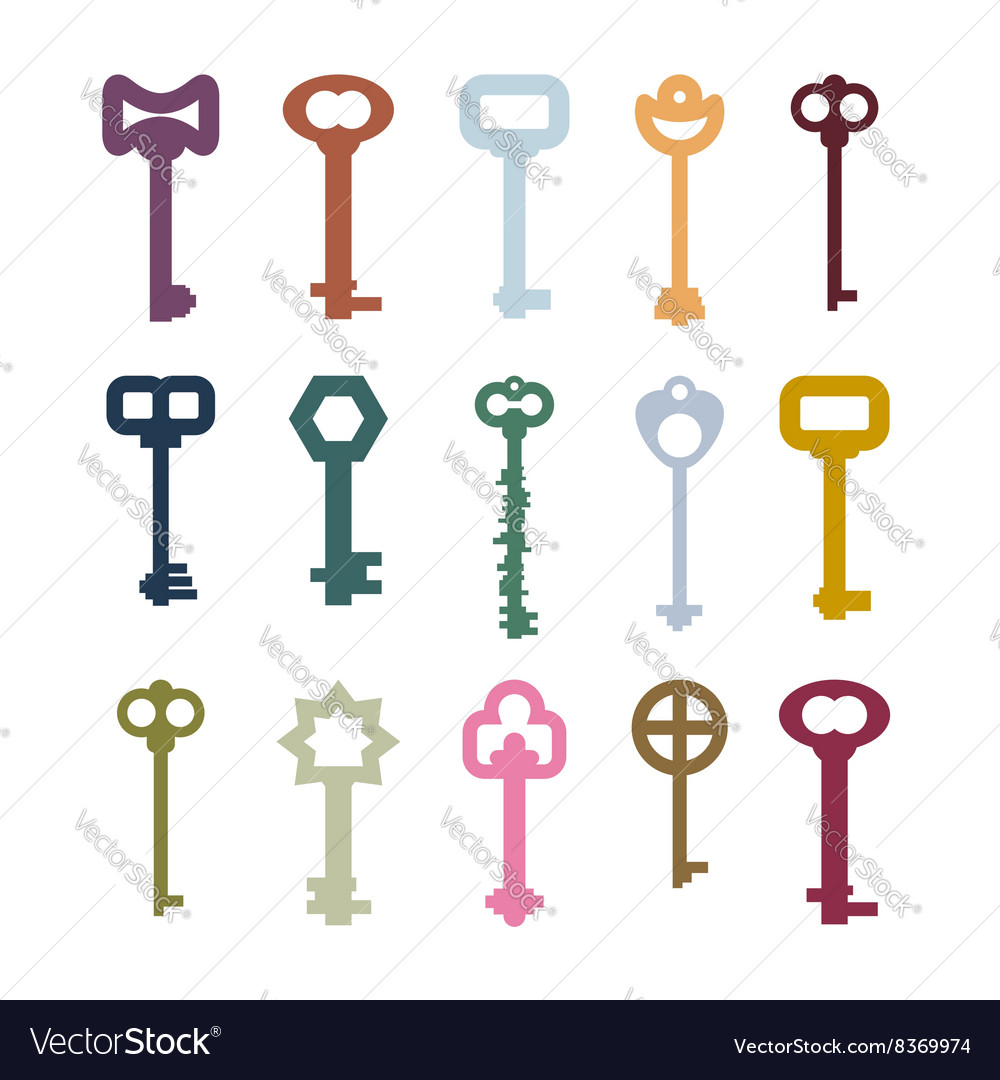 Old vintage keys set Color clues from ancient vector image