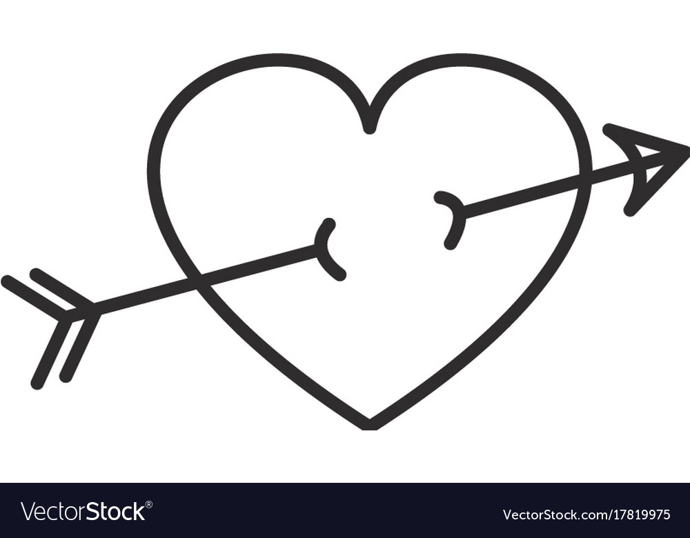 Arrow in heart line icon sign vector image