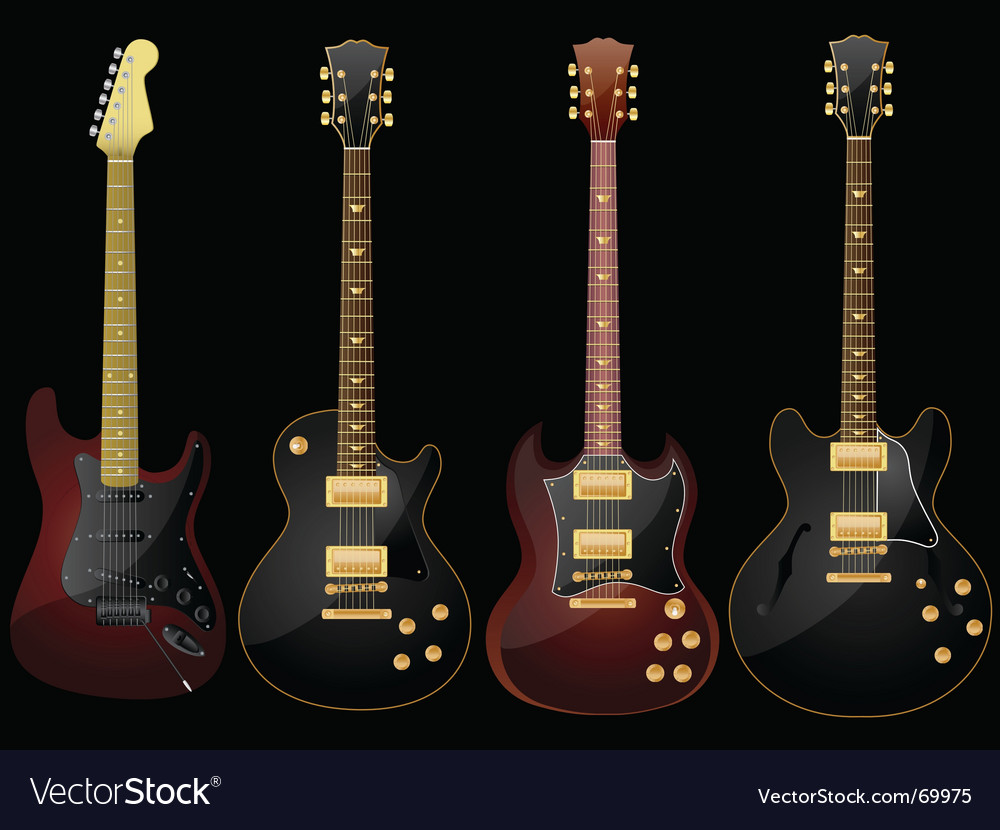 Glossy guitars vector image