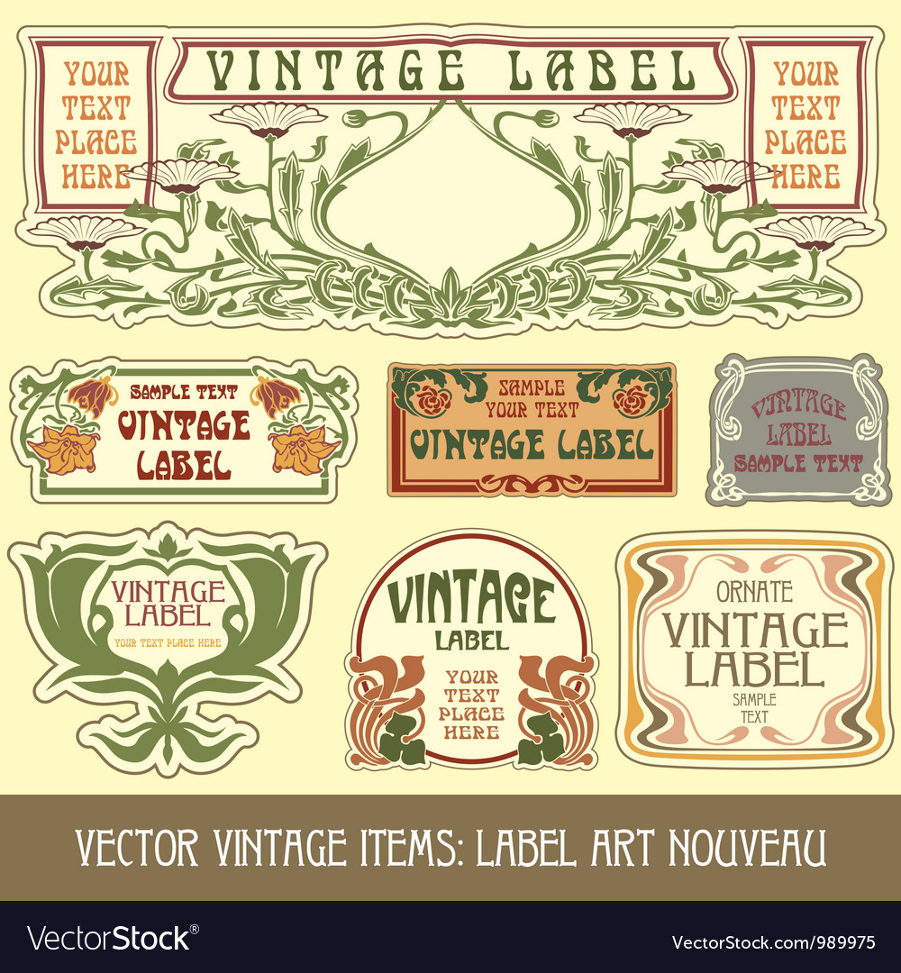 Label art nouveau vector image