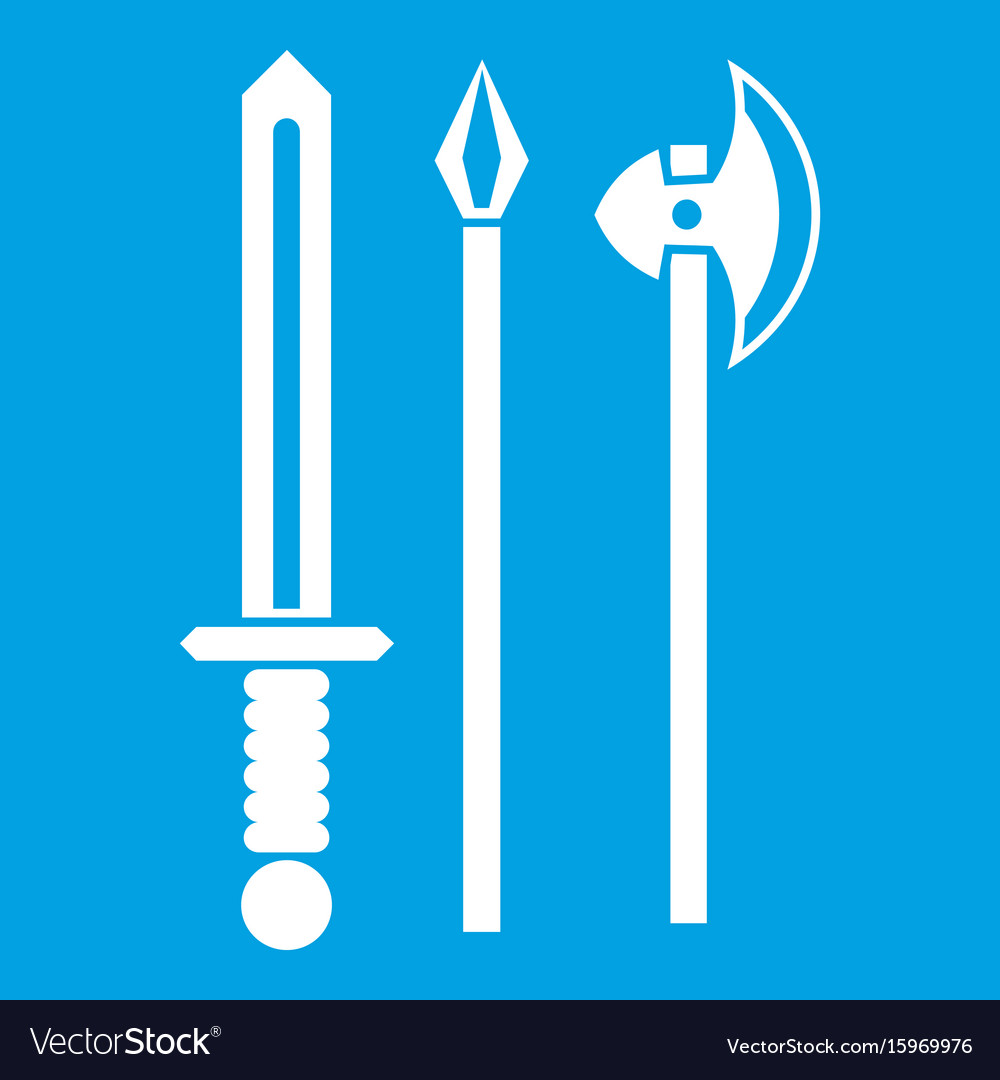 Ancient weapon sword pick and axe icon white vector image