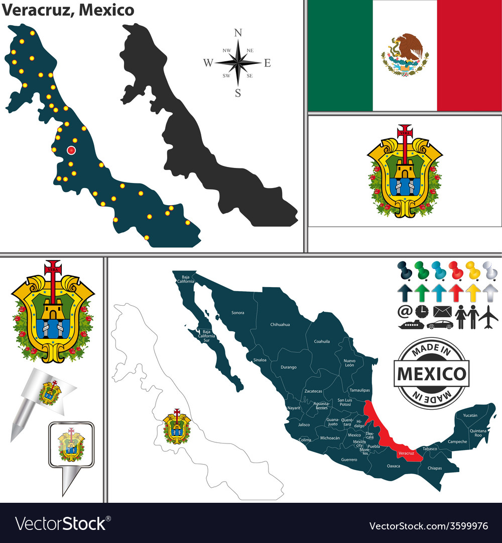 Map of Veracruz Royalty Free Vector Image VectorStock