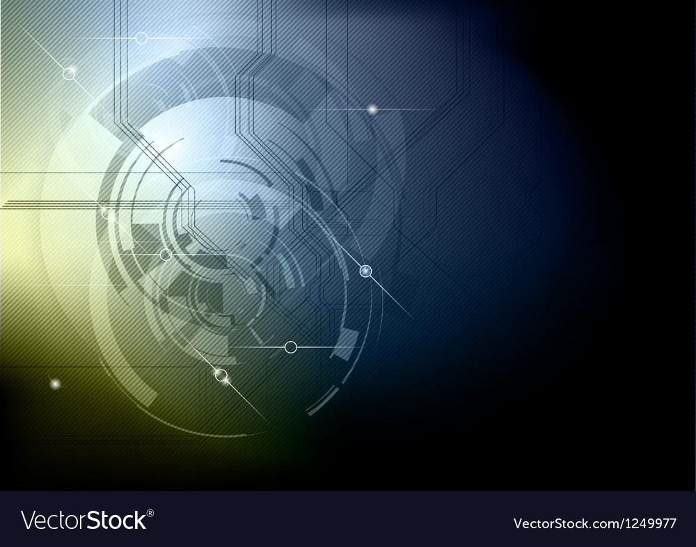 Tech background blue gold dark Vector Image