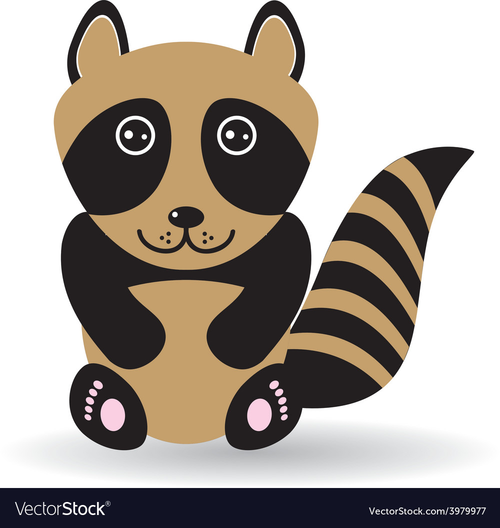 Funny raccoon on white background vector image