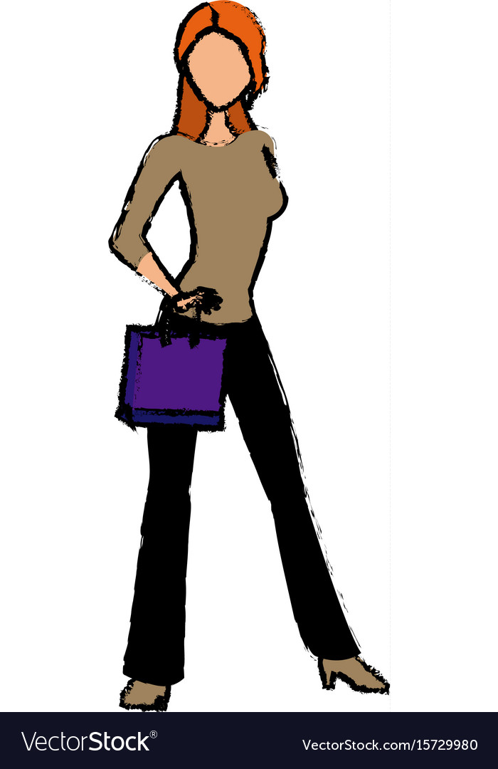 Young woman standing character holding paper bag vector image