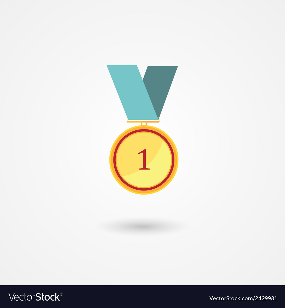 First place gold award medal icon vector image