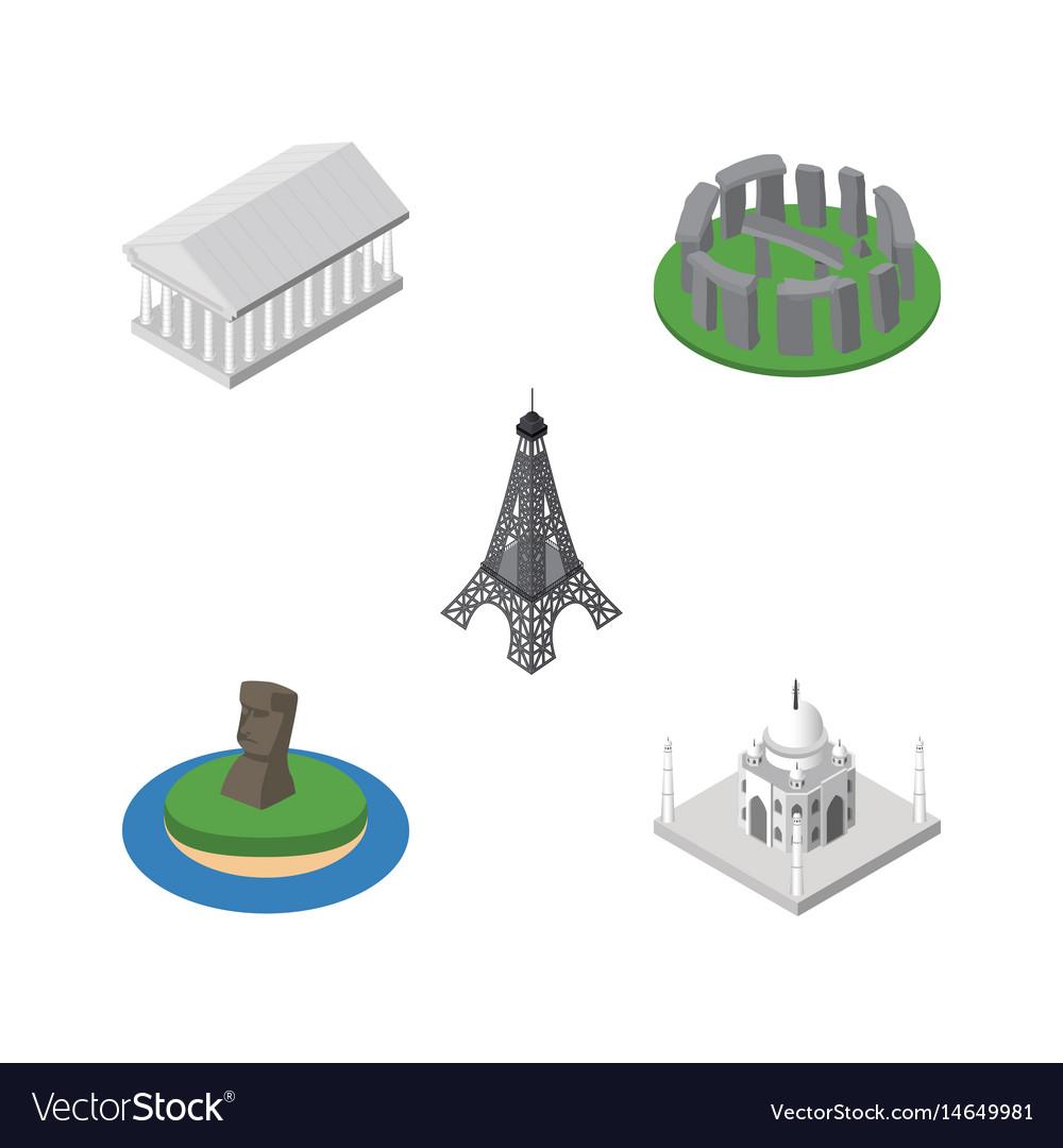 Isometric architecture set of paris chile athens vector image