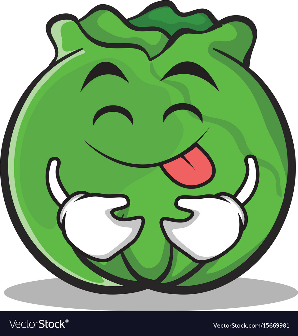 Tongue out cabbage cartoon character style vector image