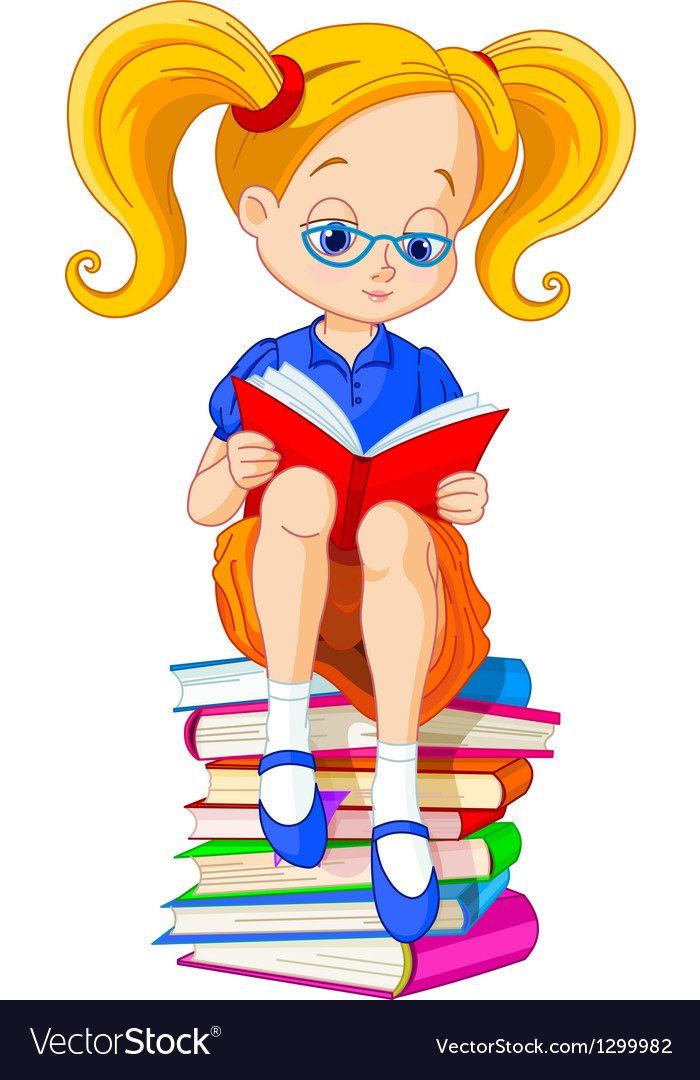 Girl reading book vector image