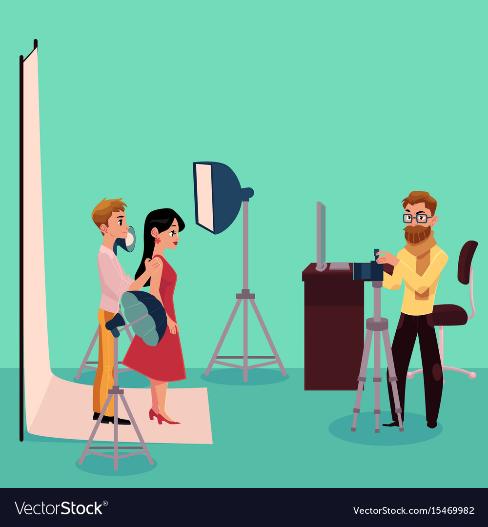 Photographer taking pictures shooting couple in vector image
