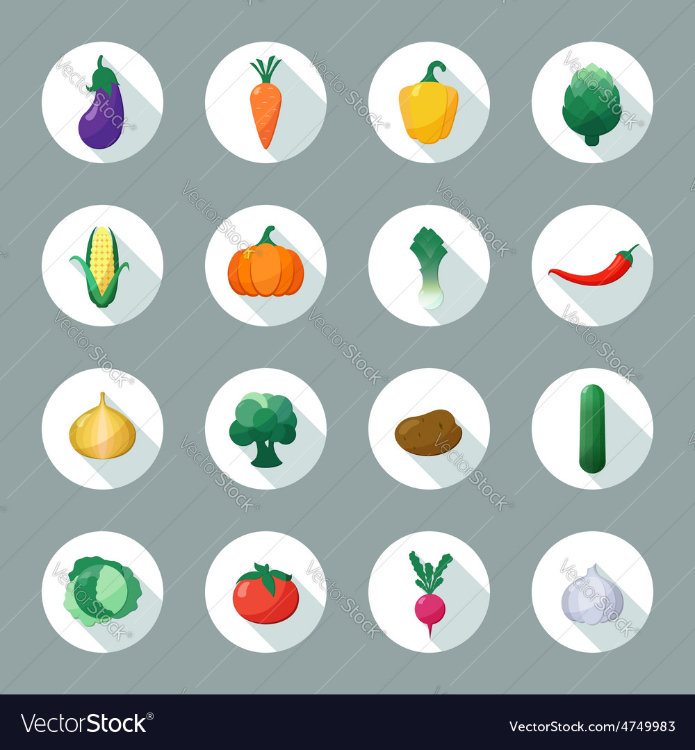 Icons Vegetables Flat Style with Long vector image